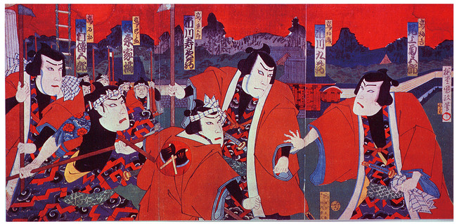 明治初期の歌舞伎の傑作『盲長屋梅加賀鳶』の錦絵