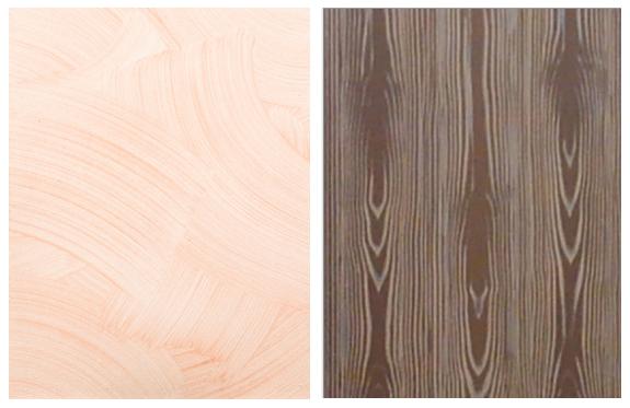 写真左: ニッペパーフェクトインテリアEMO 標準見本帳 シルク「霞」の意匠 写真右: EMOシルク「霞」で仕上げる今大会課題「木目調仕上げ」の例