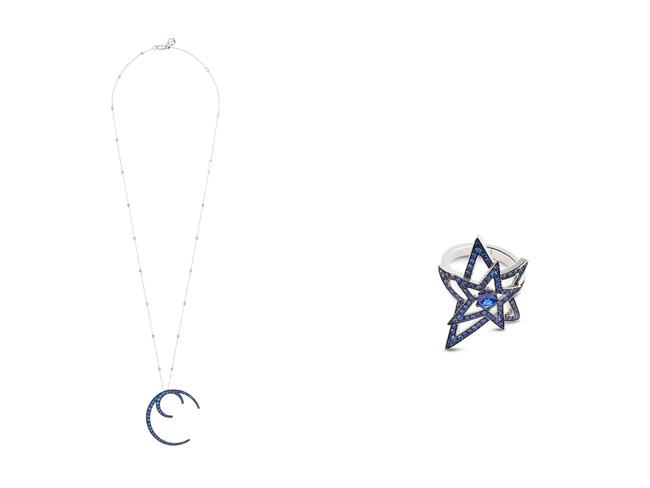 左から Firmamento サファイア、ホワイトゴールド、ダイヤモンドのネックレス ¥3,200,000(税抜き価格)  Firmamento サファイア、ホワイトゴールドのリング ¥970,000(税抜き価格)