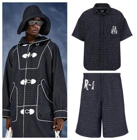 再生ポリエステル素材による左コート 264,000円 右シャツ 92,400円 ショートパンツ 84,700円