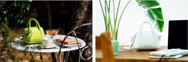 (左)ハンドバッグはきちんとした印象を演出したいときに (右)お仕事バッグの2個持ちにも大活躍してくれるサイズ感