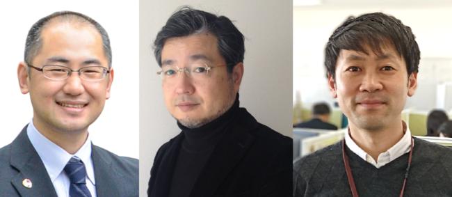 (登壇順に左より)佐藤法仁副理事・URA、山下哲也代表取締役、櫻井淳企画運営部長