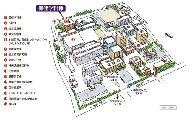 岡山大学鹿田キャンパス(岡山市北区)の保健学科の位置