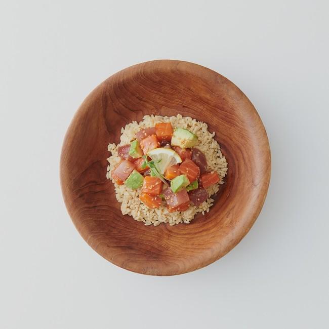 ダイズライスアレンジレシピ3.マグロとサーモンのポキ丼風