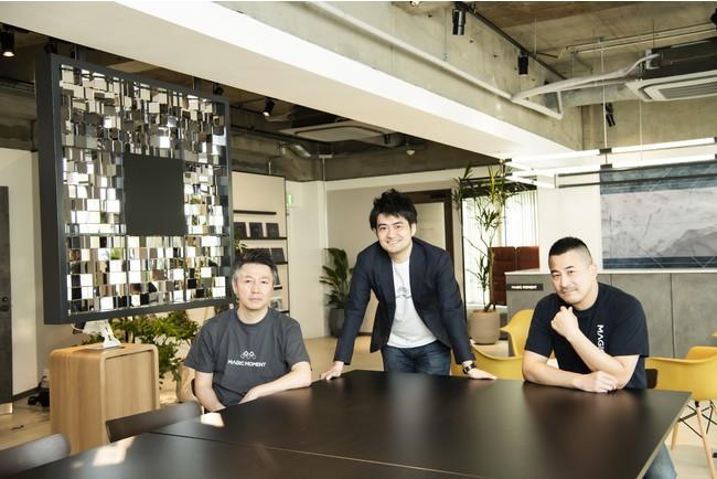 (左から、DNX Ventures 倉林氏、当社 村尾、DCM Ventures 本多氏)