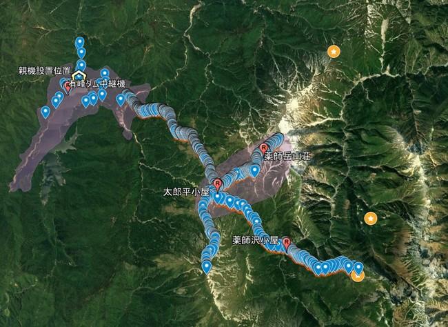 図2:通信テスト結果 青ピンは上り通信ができた地点