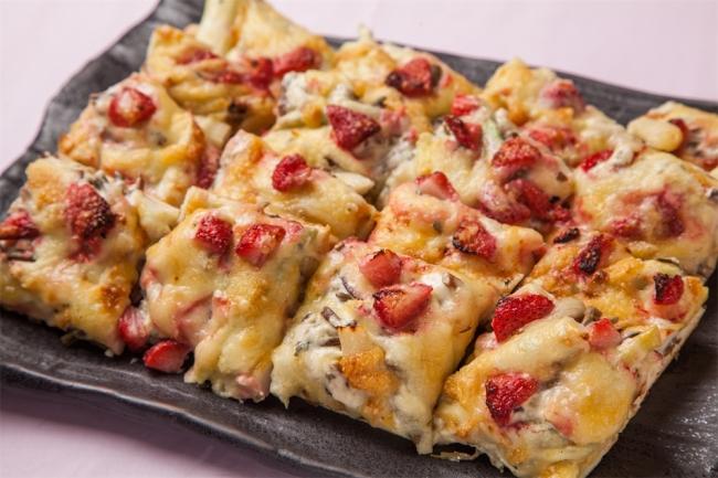 いちごと山菜のピザ