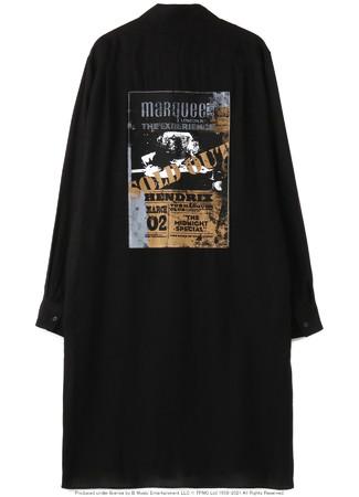 マーキー・クラブ(R)にJIMI HENDRIXが出演した時代のライブ・フォト、ライブ・フライヤーにS'YTEオリジナルのペイントを施した ロングシャツ(バック)