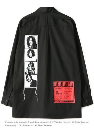 マーキー・クラブ(R)に出演した頃のLED ZEPPELINのメンバー・フォト、ライブ・フライヤーを組み合わせたシャツ(バック)