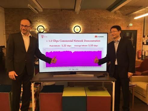 ドイツ・テレコムはファーウェイと共同で実施した技術デモにおいて、ライブ・ネットワーク上で毎秒1.22ギガビットのデータ通信速度を達成