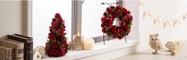 窓際のスペースを使ってクリスマスを演出