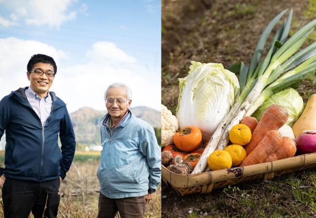 左:駅長東と生産者松田さん、右:庄川温泉郷でとれる野菜