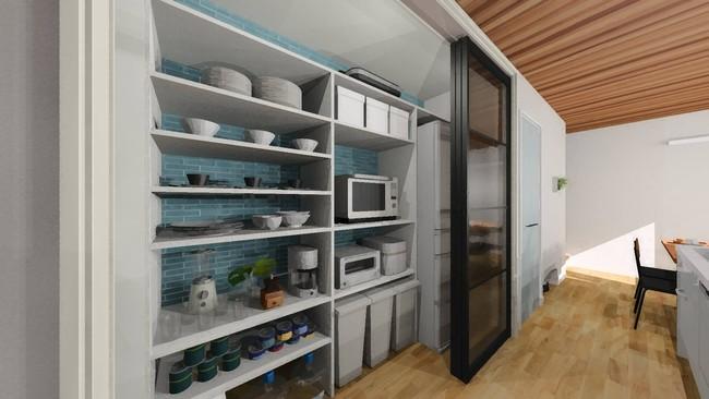 フルオープンで使いやすい大容量のキッチンクローク