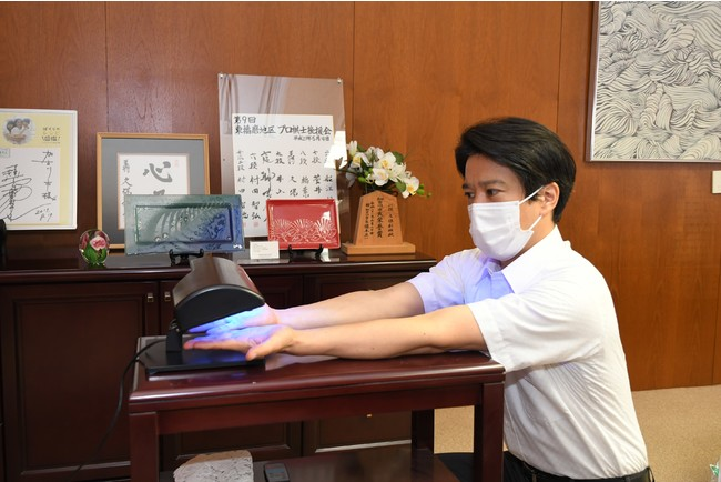 ▲市長への「清潔衛生レクチャー」