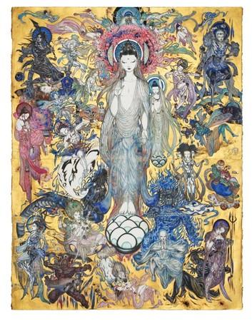 「法華経画」天野喜孝 額装後サイズ  高さ 1890mm  幅 1510mm  厚み 約90mm  重量 約40kg