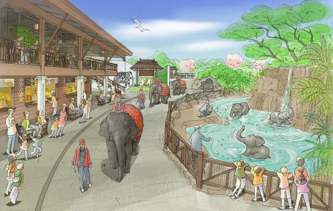 ゾウの水遊び場「エレファント スプラッシュ」イメージ