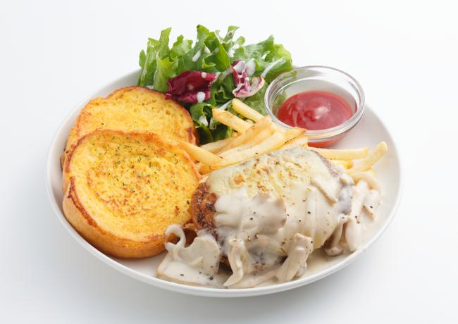 きのこクリームチーズハンバーグ 2ピース 1,550円(税別)