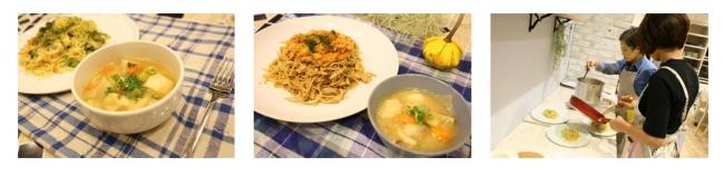 (左から)気仙沼特選グルメ メカセット、シャークセット、料理研究家によるこだわりのレシピ開発風景