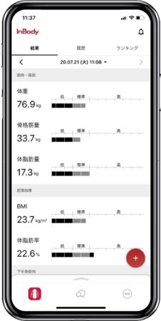 専用アプリでの計測結果 確認画面イメージ
