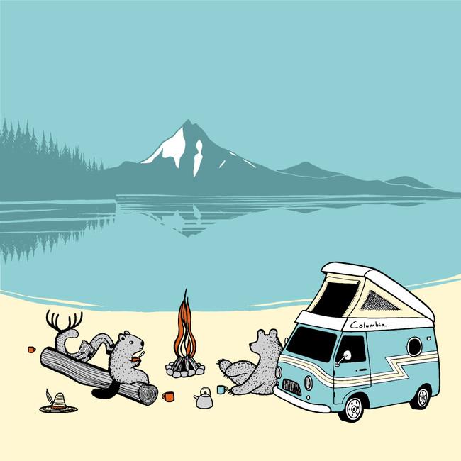 オレゴンを代表する山、Mt.Hootの近くでVan Campを楽しむ動物たち