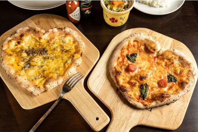 栃木県産小麦使用のハート型ピザ