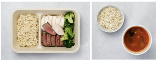 (画像左:鶏胸肉60g+牛サーロイン60gとブロッコリー、画像右:翌日の朝食用日替わりスープとオートミール)