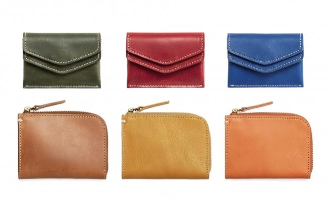 左上から グリーン、レッド、ブルー(ツインコインケース) 左下から キャメル、イエロー、オレンジ(ハンディLファスナー)