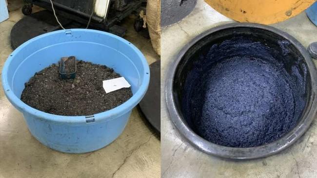 乾燥した「すくも」と藍甕
