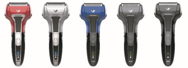 左からIZF-V571-R(5枚刃)、IZF-V571-S(5枚刃)、IZF-V551-A(4枚刃)、IZF-V551-H(4枚刃)、IZF-V531-K(3枚刃)