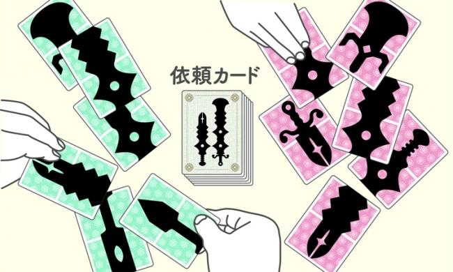 1人6枚(表裏12柄)の手札をつなげたり、重ねたりして 組み合わせて、依頼カードと同じ「つるぎ」を作る