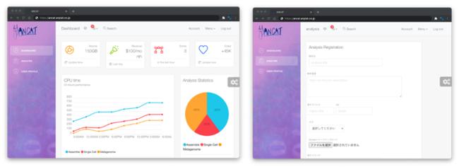 解析プラットフォーム「ANCAT」のダッシュボード(左)と解析登録画面(右)