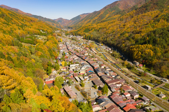 写真1)奈良井宿 鳥瞰