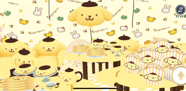 ポムポムプリンの風船やお菓子がたくさん並ぶポムポムプリンの作品