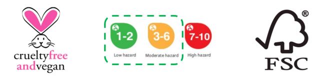100%ヴィーガン、安全な成分のみを使用、クリーンな購買と持続可能な材料を使用