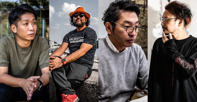 左から代表取締役 横木淳平、取締役 古田秘馬、取締役 田村友輝、社外CBO 青柳徹