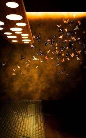 リビングダイニングルームには小松孝英氏描き下ろしの蝶の壁画