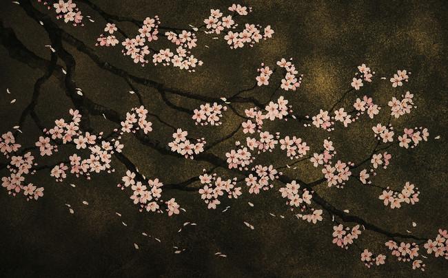 寝室から階段にかけての小松孝英氏描き下ろしの桜の壁画