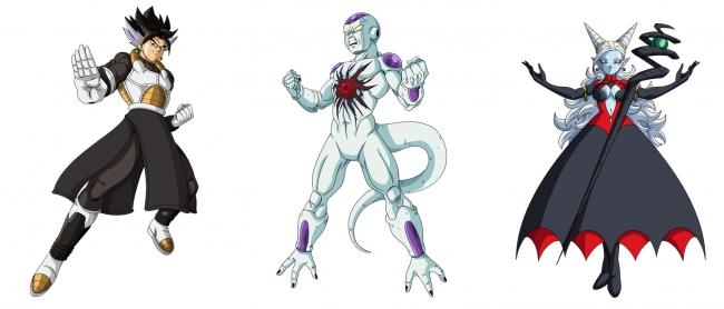 ▲「暗黒帝国編」に登場する (左)ベジークス、(中央)フリーザ:ゼノ、(右)魔神トワ