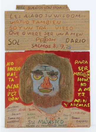 カルロス・ハビエル・ガルシア・ウエルゴ 《無題》 1990年 フェルトペン、アクリル絵の具、段ボール 72.4×50cm photo:MIYAJIMA Kei