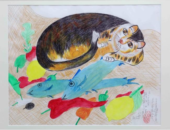 ジミー・ツトム・ミリキタニ 《無題》 2001-2006年 ボールペン、水彩鉛筆、水彩絵の具、紙 43.5×55.5cm photo:MIYAJIMA Kei