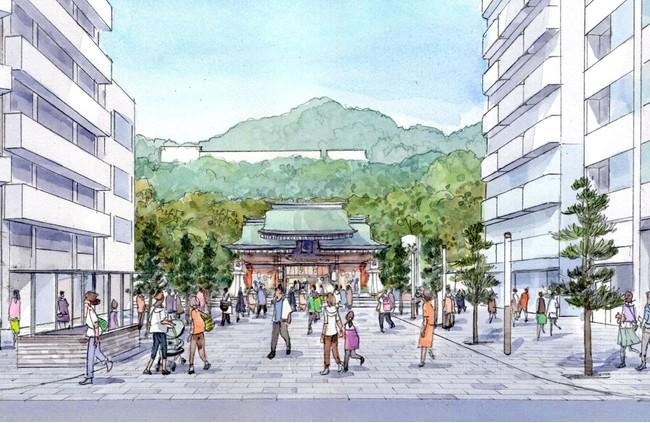 広場と湊川神社をつなぐ景観軸