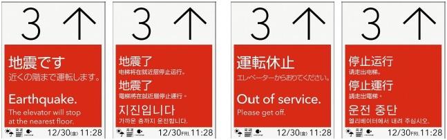 「緊急時4カ国語表示・放送」のインジケーター表示イメージ