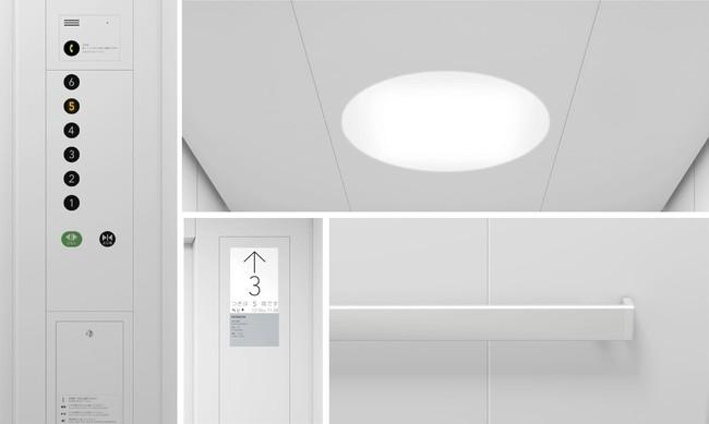 意匠デザインの詳細イメージ(左:フラットな操作盤と高い視認性を確保したボタン、 右上:サークル型の天井照明、中央下:表示の視認性を高めた液晶インジケーター、右下:フラットな角形ハンドレール)