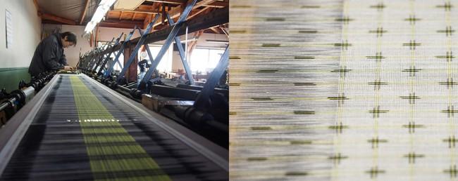 左:独自の手染技術 櫛押し捺染 右:櫛押し捺染技術が生み出す十字絣
