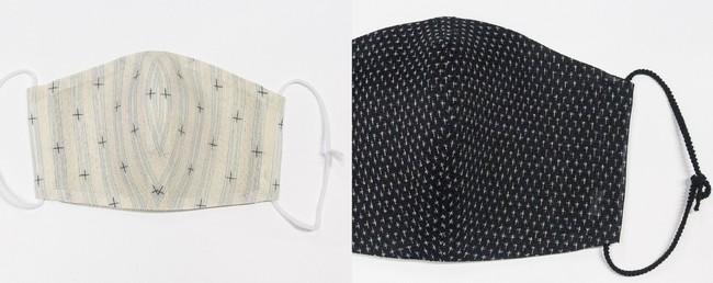 左:ひんやりマスクカバー十字絣5,225円(税込) 右:ひんやりマスクカバー蚊絣 6,160円(税込)