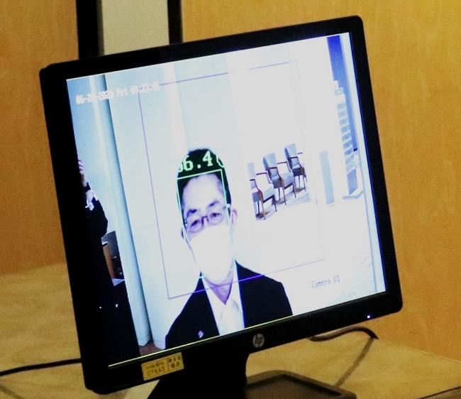 <サーモカメラによる体温検出の例:体温表示画面>