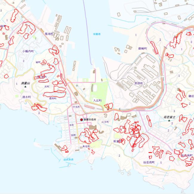 オープンデータ事例: 傾斜地区域 (室蘭市)