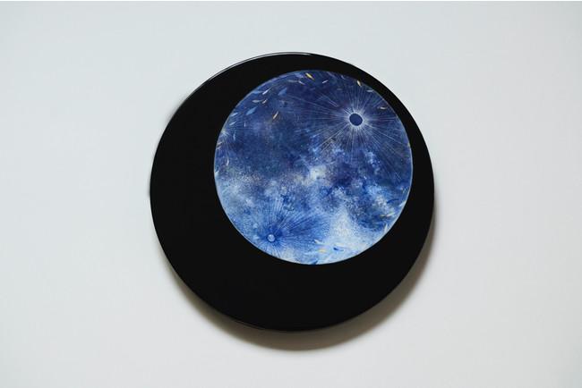 「蒼月」/2021年/レジン、岩絵具