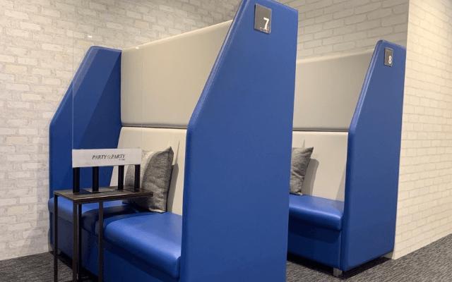 ▲感染症対策のため、各席にパーテーションを設置