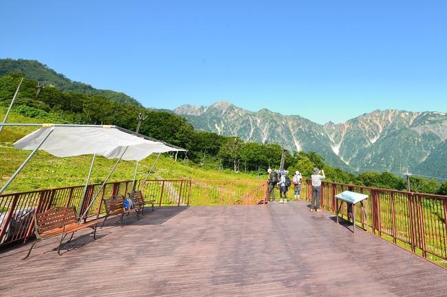 ゴンドラ山頂駅舎上、「アルプス大展望台」は絶景。